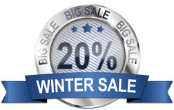 20% big winter sale icon. Round 20% winter sale metallic icon vector illustration
