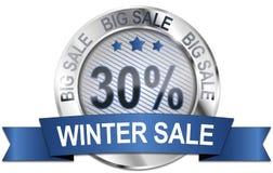 30% big winter sale icon. Round 30% winter sale metallic icon Royalty Free Stock Image