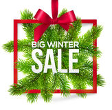 Big winter sale label with red ribbon and green Stock Photos