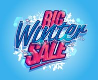 Big winter sale poster or banner. Concept Stock Photos