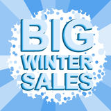 Big winter sale poster with BIG WINTER SALE text. Advertising vector banner Royalty Free Stock Photography