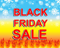 Big winter sale poster with BLACK FRIDAY SALE text. Advertising vector banner Stock Images