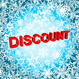 Big winter sale poster with DISCOUNT text. Advertising vector banner Stock Photography