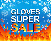 Big winter sale poster with GLOVES SUPER SALE text. Advertising vector banner. Big winter sale poster with GLOVES SUPER SALE text. Advertising blue and red Stock Photography