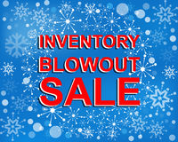 Big winter sale poster with INVENTORY BLOWOUT SALE text. Advertising vector banner Stock Photo