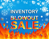 Big winter sale poster with INVENTORY BLOWOUT SALE text. Advertising vector banner Stock Image