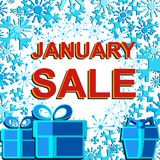 Big winter sale poster with JANUARY SALE text. Advertising vector banner Stock Photo