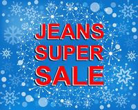 Big winter sale poster with JEANS SUPER SALE text. Advertising vector banner Stock Photo