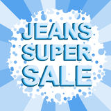 Big winter sale poster with JEANS SUPER SALE text. Advertising vector banner Stock Image