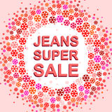 Big winter sale poster with JEANS SUPER SALE text. Advertising vector banner Royalty Free Stock Image