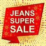 Big winter sale poster with JEANS SUPER SALE text. Advertising vector banner Royalty Free Stock Images