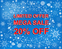 Big winter sale poster with LIMITED OFFER MEGA SALE 20 PERCENT OFF text. Advertising vector banner. Big winter sale poster with LIMITED OFFER MEGA SALE 20 Royalty Free Stock Photography