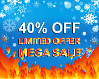 Big winter sale poster with LIMITED OFFER MEGA SALE 40 PERCENT OFF text. Advertising vector banner Royalty Free Stock Image