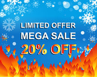 Big winter sale poster with LIMITED OFFER MEGA SALE 20 PERCENT OFF text. Advertising vector banner. Big winter sale poster with LIMITED OFFER MEGA SALE 20 Stock Photo
