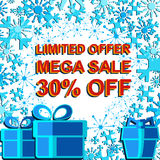 Big winter sale poster with LIMITED OFFER MEGA SALE 30 PERCENT OFF text. Advertising vector banner. Big winter sale poster with LIMITED OFFER MEGA SALE 30 Stock Photos