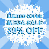 Big winter sale poster with LIMITED OFFER MEGA SALE 30 PERCENT OFF text. Advertising vector banner. Big winter sale poster with LIMITED OFFER MEGA SALE 30 Stock Photo
