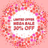 Big winter sale poster with LIMITED OFFER MEGA SALE 30 PERCENT OFF text. Advertising vector banner. Big winter sale poster with LIMITED OFFER MEGA SALE 30 Stock Photography