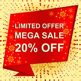 Big winter sale poster with LIMITED OFFER MEGA SALE 20 PERCENT OFF text. Advertising vector banner. Big winter sale poster with LIMITED OFFER MEGA SALE 20 Stock Image