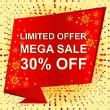 Big winter sale poster with LIMITED OFFER MEGA SALE 30 PERCENT OFF text. Advertising vector banner. Big winter sale poster with LIMITED OFFER MEGA SALE 30 Royalty Free Stock Photo