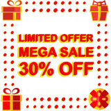 Big winter sale poster with LIMITED OFFER MEGA SALE 30 PERCENT OFF text. Advertising vector banner. Template Stock Photos