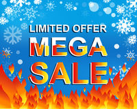 Big winter sale poster with LIMITED OFFER MEGA SALE text. Advertising vector banner Royalty Free Stock Images