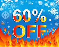 Big winter sale poster with 60 PERCENT OFF text. Advertising vector banner Royalty Free Stock Photos