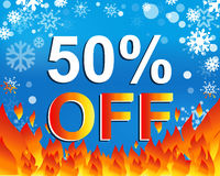 Big winter sale poster with 50 PERCENT OFF text. Advertising vector banner Royalty Free Stock Photography