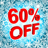 Big winter sale poster with 60 PERCENT OFF text. Advertising vector banner. Big winter sale poster with 60 PERCENT OFF text. Advertising blue and red vector Stock Photography
