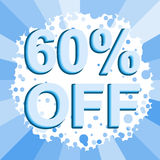 Big winter sale poster with 60 PERCENT OFF text. Advertising vector banner. Big winter sale poster with 60 PERCENT OFF text. Advertising blue vector banner Stock Photography