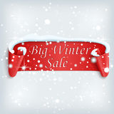 Big Winter sale poster. Red, curved, paper banner on winter background with snow and snowflakes. Vector illustration Stock Photography