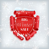 Big Winter sale poster. Red, curved, paper banner on winter background with snow and snowflakes. Vector illustration Stock Image