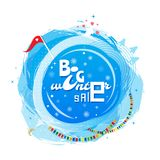 Big winter sale poster. Round banner on New Year and Christmas theme. Winter sale background. Vector illustration. Big winter sale poster. Round banner on New Stock Photo