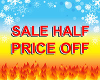 Big winter sale poster with SALE HALF PRICE OFF text. Advertising vector banner Royalty Free Stock Photography
