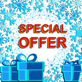 Big winter sale poster with SPECIAL OFFER SALE text. Advertising vector banner Stock Image