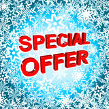 Big winter sale poster with SPECIAL OFFER SALE text. Advertising vector banner Stock Photography