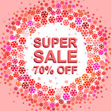 Big winter sale poster with SUPER SALE 70 PERCENT OFF text. Advertising vector banner. Big winter sale poster with SUPER SALE 70 PERCENT OFF text. Advertising Stock Images