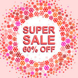Big winter sale poster with SUPER SALE 60 PERCENT OFF text. Advertising vector banner. Big winter sale poster with SUPER SALE 60 PERCENT OFF text. Advertising Stock Photography