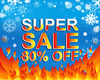 Big winter sale poster with SUPER SALE 80 PERCENT OFF text. Advertising vector banner. Big winter sale poster with SUPER SALE 80 PERCENT OFF text. Advertising Royalty Free Stock Photos