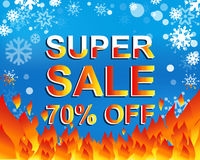 Big winter sale poster with SUPER SALE 70 PERCENT OFF text. Advertising vector banner. Big winter sale poster with SUPER SALE 70 PERCENT OFF text. Advertising Royalty Free Stock Photography