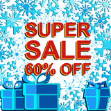Big winter sale poster with SUPER SALE 60 PERCENT OFF text. Advertising vector banner. Big winter sale poster with SUPER SALE 60 PERCENT OFF text. Advertising Stock Images