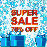 Big winter sale poster with SUPER SALE 70 PERCENT OFF text. Advertising vector banner. Big winter sale poster with SUPER SALE 70 PERCENT OFF text. Advertising Stock Photography