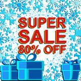 Big winter sale poster with SUPER SALE 80 PERCENT OFF text. Advertising vector banner. Big winter sale poster with SUPER SALE 80 PERCENT OFF text. Advertising Stock Photography