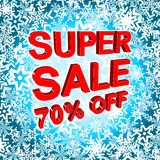 Big winter sale poster with SUPER SALE 70 PERCENT OFF text. Advertising vector banner. Big winter sale poster with SUPER SALE 70 PERCENT OFF text. Advertising Royalty Free Stock Images