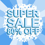 Big winter sale poster with SUPER SALE 80 PERCENT OFF text. Advertising vector banner. Big winter sale poster with SUPER SALE 80 PERCENT OFF text. Advertising Stock Photos