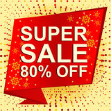 Big winter sale poster with SUPER SALE 80 PERCENT OFF text. Advertising vector banner Stock Photo