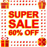 Big winter sale poster with SUPER SALE 60 PERCENT OFF text. Advertising vector banner. Template Stock Photo