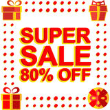 Big winter sale poster with SUPER SALE 80 PERCENT OFF text. Advertising vector banner Royalty Free Stock Image
