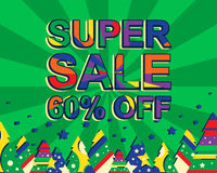 Big winter sale poster with SUPER SALE 60 PERCENT OFF text. Advertising vector banner. Template with christmas trees. Green background Royalty Free Stock Photography