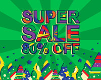 Big winter sale poster with SUPER SALE 80 PERCENT OFF text. Advertising vector banner Royalty Free Stock Photography