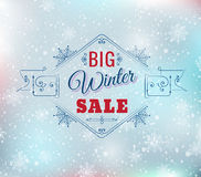 Big winter sale poster. Big winter sale typography poster - Vector illustration. All elements can be edited to fit your layout.Colorful background consist of Royalty Free Stock Photo